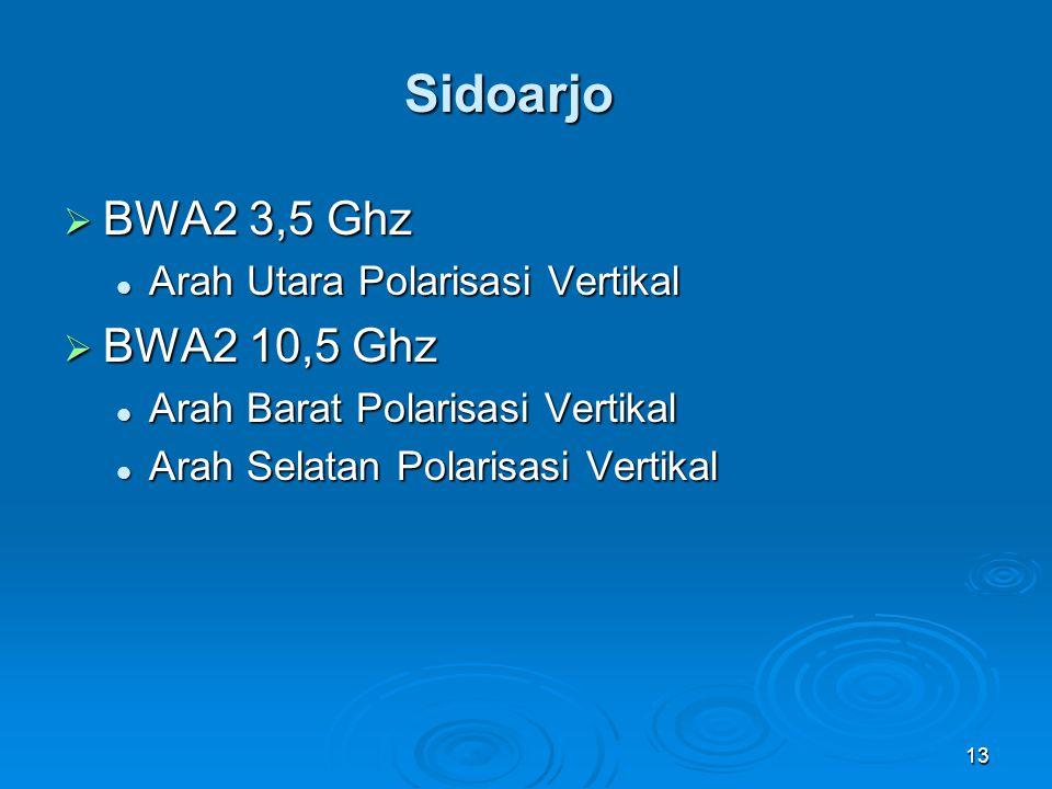 13 Sidoarjo  BWA2 3,5 Ghz Arah Utara Polarisasi Vertikal Arah Utara Polarisasi Vertikal  BWA2 10,5 Ghz Arah Barat Polarisasi Vertikal Arah Barat Pol