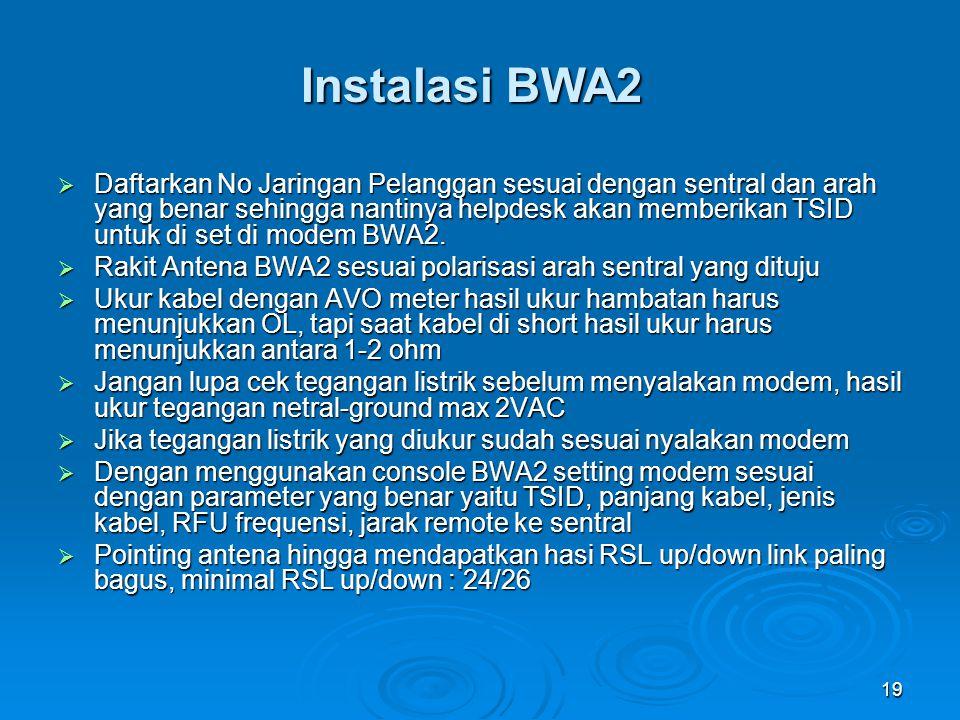 19 Instalasi BWA2  Daftarkan No Jaringan Pelanggan sesuai dengan sentral dan arah yang benar sehingga nantinya helpdesk akan memberikan TSID untuk di