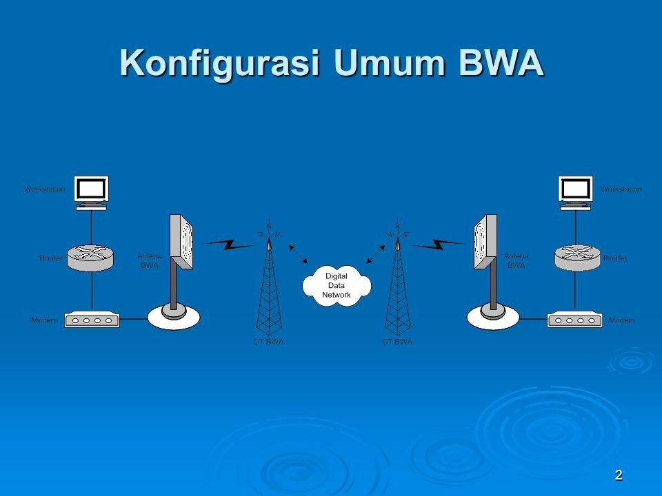 3 Spesifikasi Umum BWA1  Frekuensi : 10 Ghz  Kecepatan Data: 64 – 2048 Kbps  Cakupan Area: 8 – 10 Km  Layanan Jasa : Frame Relay & IP  Jenis Kabel : LMR 450  Connector: N  Konfigurasi Jaringan: Point to Multipoint  Max ST/Remote: 734/Base Station  Service Support: Data (TDM,FR), IP  Kapasitas BS: 8,3 Mbps/Sector  Kapasitas Remote: 64 Kbps – N x E-1  Modulasi: 4 QAM  Polarisasi: Vertikal & Horizontal  User Interface: ODU + IDU
