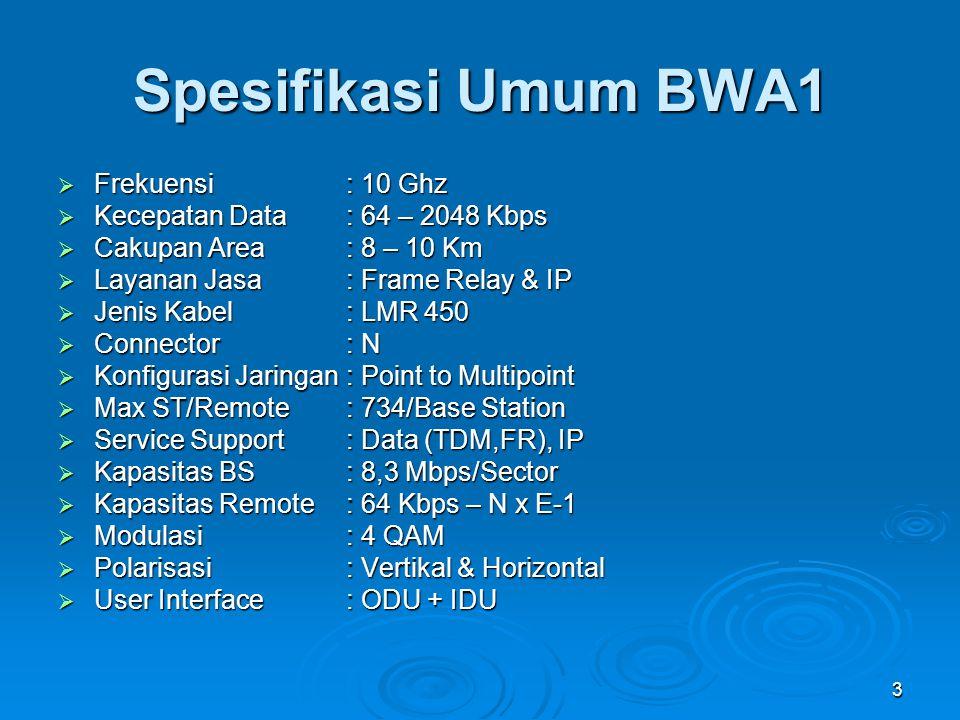 3 Spesifikasi Umum BWA1  Frekuensi : 10 Ghz  Kecepatan Data: 64 – 2048 Kbps  Cakupan Area: 8 – 10 Km  Layanan Jasa : Frame Relay & IP  Jenis Kabe