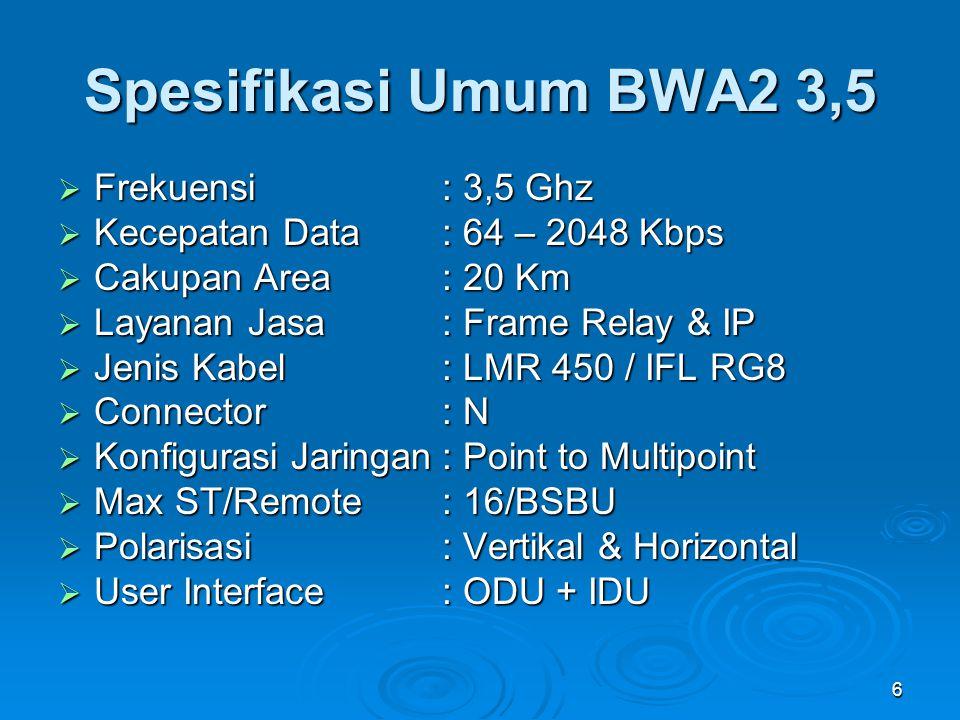 6 Spesifikasi Umum BWA2 3,5  Frekuensi : 3,5 Ghz  Kecepatan Data: 64 – 2048 Kbps  Cakupan Area: 20 Km  Layanan Jasa : Frame Relay & IP  Jenis Kab