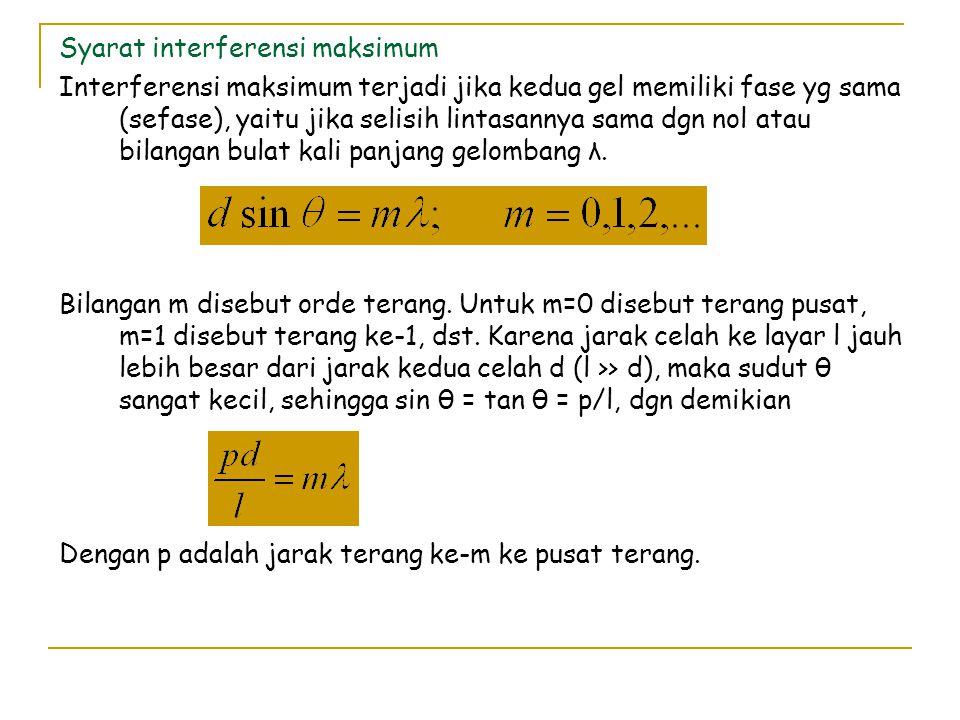 Syarat interferensi minimum Interferensi minimum terjadi jika beda fase kedua gel 180 o, yaitu jika selisih lintasannya sama dgn bilangan ganjil kali setengah λ.