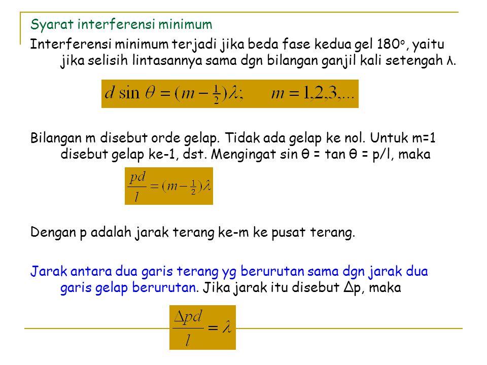 Contoh : Pada suatu percobaan YOUNG, jarak antara 2 celah d = 0,25 mm sedangkan jarak celah ke layar l = 1 m.