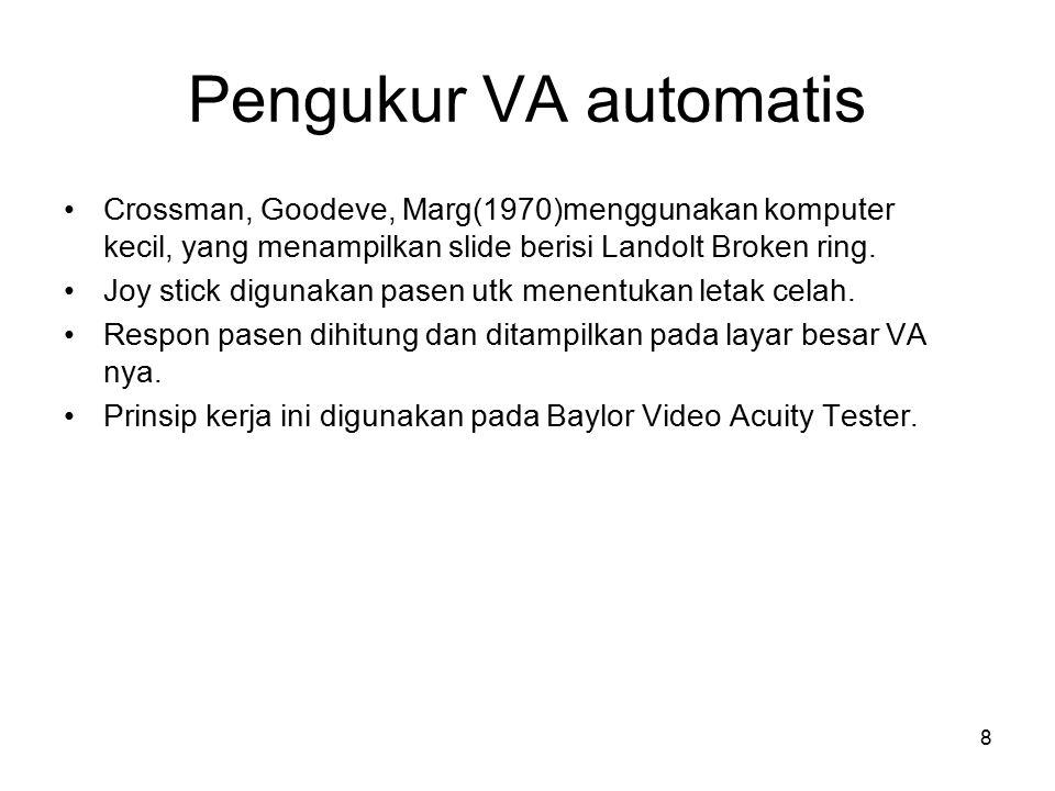 8 Pengukur VA automatis Crossman, Goodeve, Marg(1970)menggunakan komputer kecil, yang menampilkan slide berisi Landolt Broken ring. Joy stick digunaka