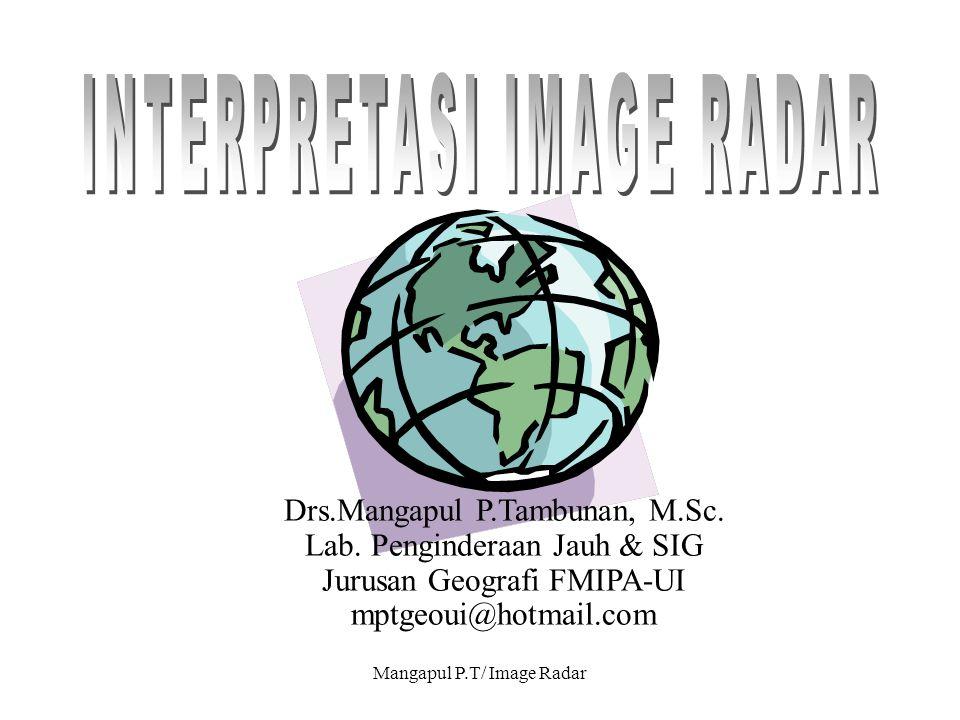 Mangapul P.T/ Image Radar Drs.Mangapul P.Tambunan, M.Sc. Lab. Penginderaan Jauh & SIG Jurusan Geografi FMIPA-UI mptgeoui@hotmail.com
