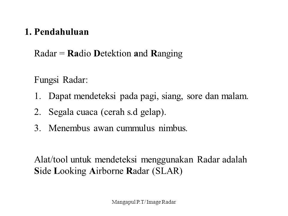 Mangapul P.T/ Image Radar 1. Pendahuluan Radar = Radio Detektion and Ranging Fungsi Radar: 1.Dapat mendeteksi pada pagi, siang, sore dan malam. 2.Sega