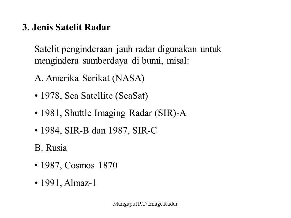 Mangapul P.T/ Image Radar 3. Jenis Satelit Radar Satelit penginderaan jauh radar digunakan untuk mengindera sumberdaya di bumi, misal: A. Amerika Seri