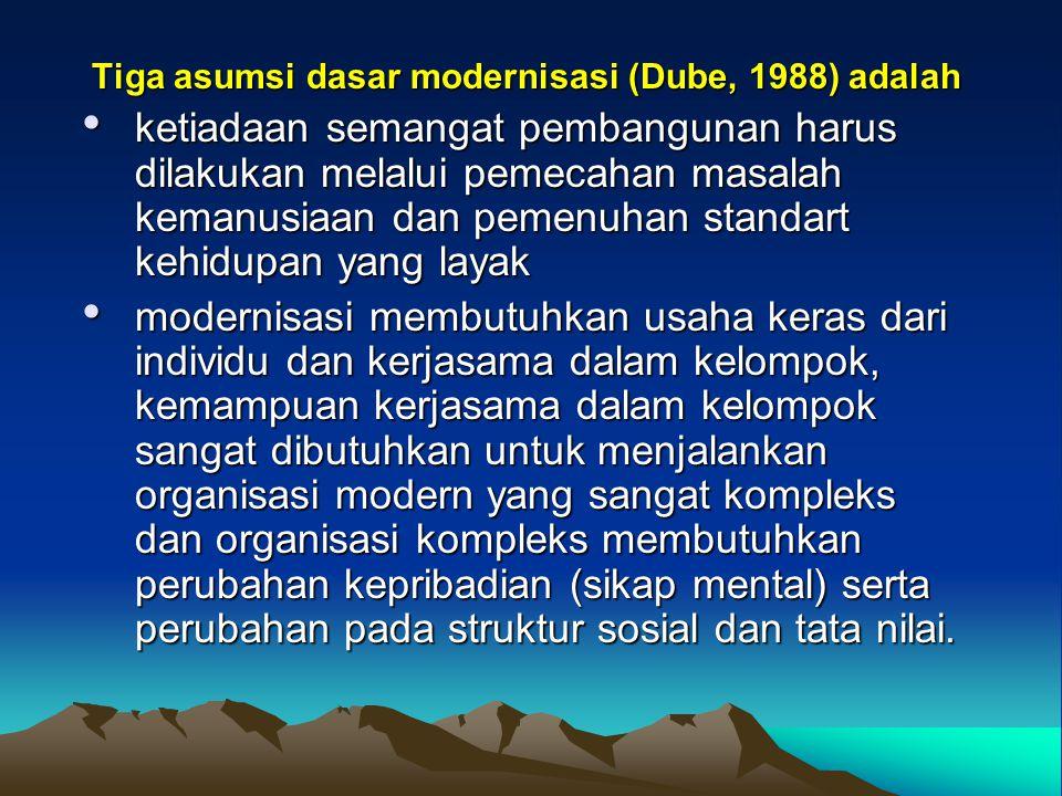 Tiga asumsi dasar modernisasi (Dube, 1988) adalah ketiadaan semangat pembangunan harus dilakukan melalui pemecahan masalah kemanusiaan dan pemenuhan s