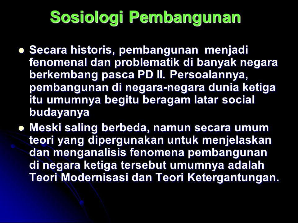 Sosiologi Pembangunan Secara historis, pembangunan menjadi fenomenal dan problematik di banyak negara berkembang pasca PD II. Persoalannya, pembanguna