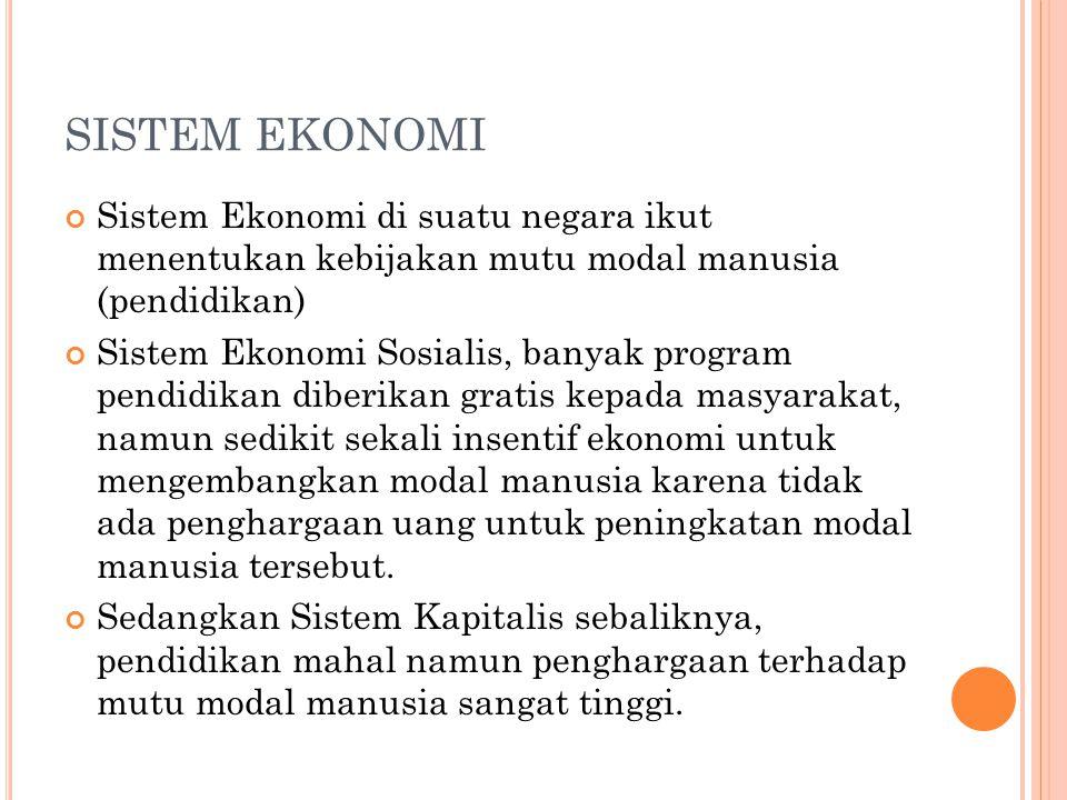 SISTEM EKONOMI Sistem Ekonomi di suatu negara ikut menentukan kebijakan mutu modal manusia (pendidikan) Sistem Ekonomi Sosialis, banyak program pendid