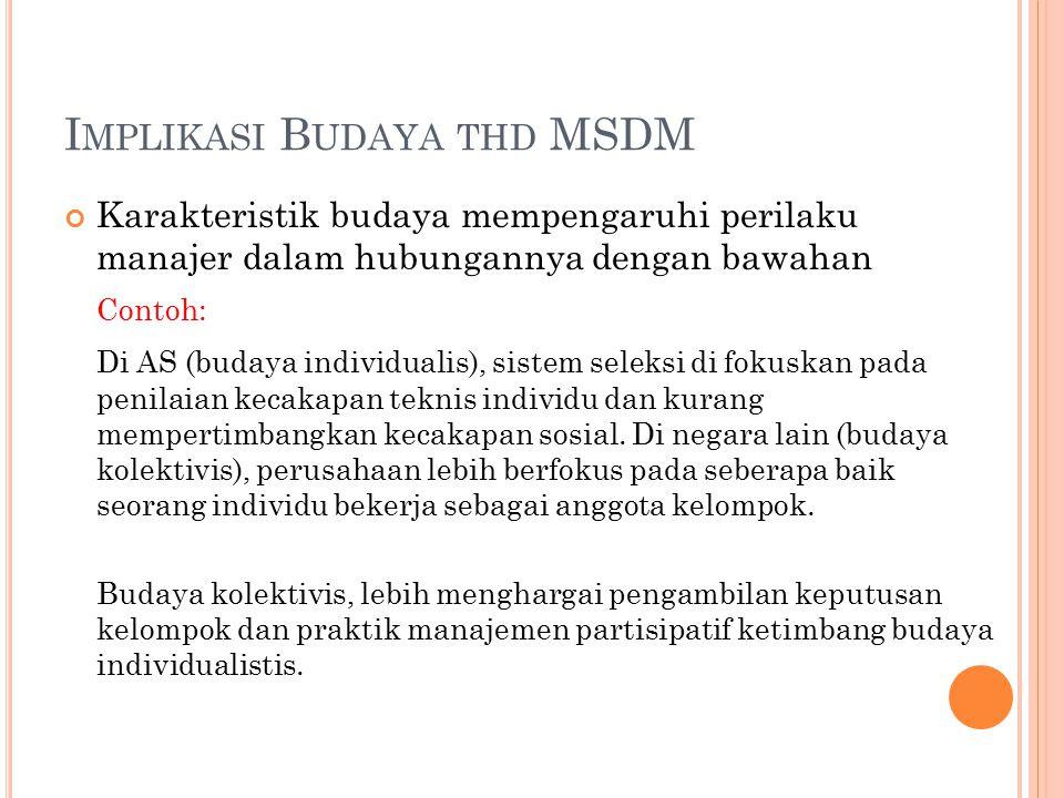 I MPLIKASI B UDAYA THD MSDM Karakteristik budaya mempengaruhi perilaku manajer dalam hubungannya dengan bawahan Contoh: Di AS (budaya individualis), s