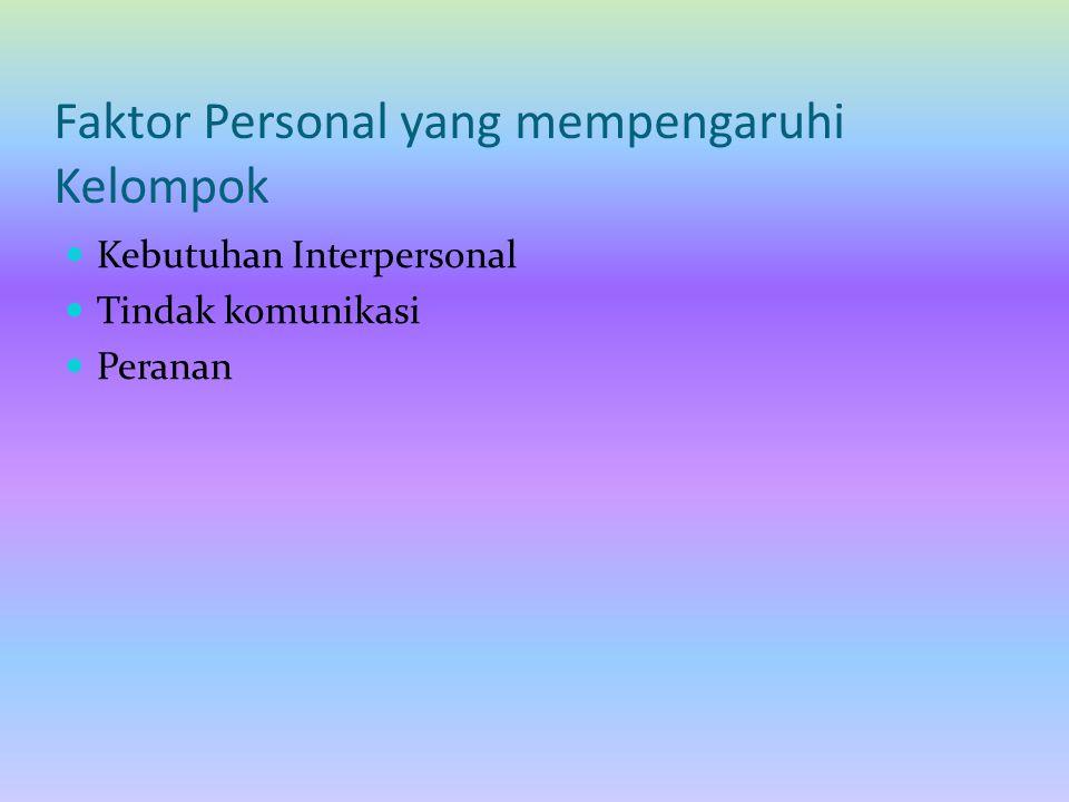 Faktor Personal yang mempengaruhi Kelompok Kebutuhan Interpersonal Tindak komunikasi Peranan