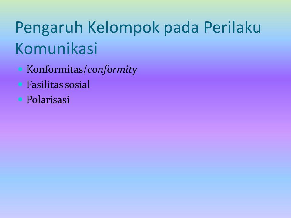 Pengaruh Kelompok pada Perilaku Komunikasi Konformitas/conformity Fasilitas sosial Polarisasi