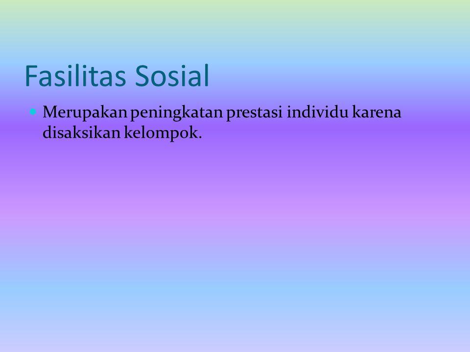 Fasilitas Sosial Merupakan peningkatan prestasi individu karena disaksikan kelompok.