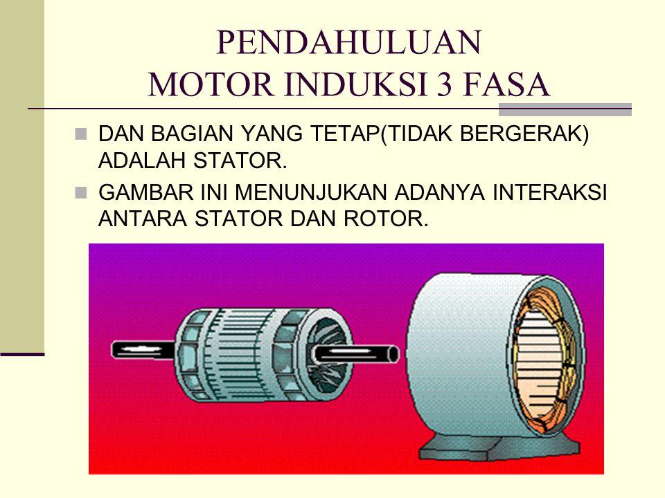 PENDAHULUAN MOTOR INDUKSI 3 FASA DAN BAGIAN YANG TETAP(TIDAK BERGERAK) ADALAH STATOR. GAMBAR INI MENUNJUKAN ADANYA INTERAKSI ANTARA STATOR DAN ROTOR.