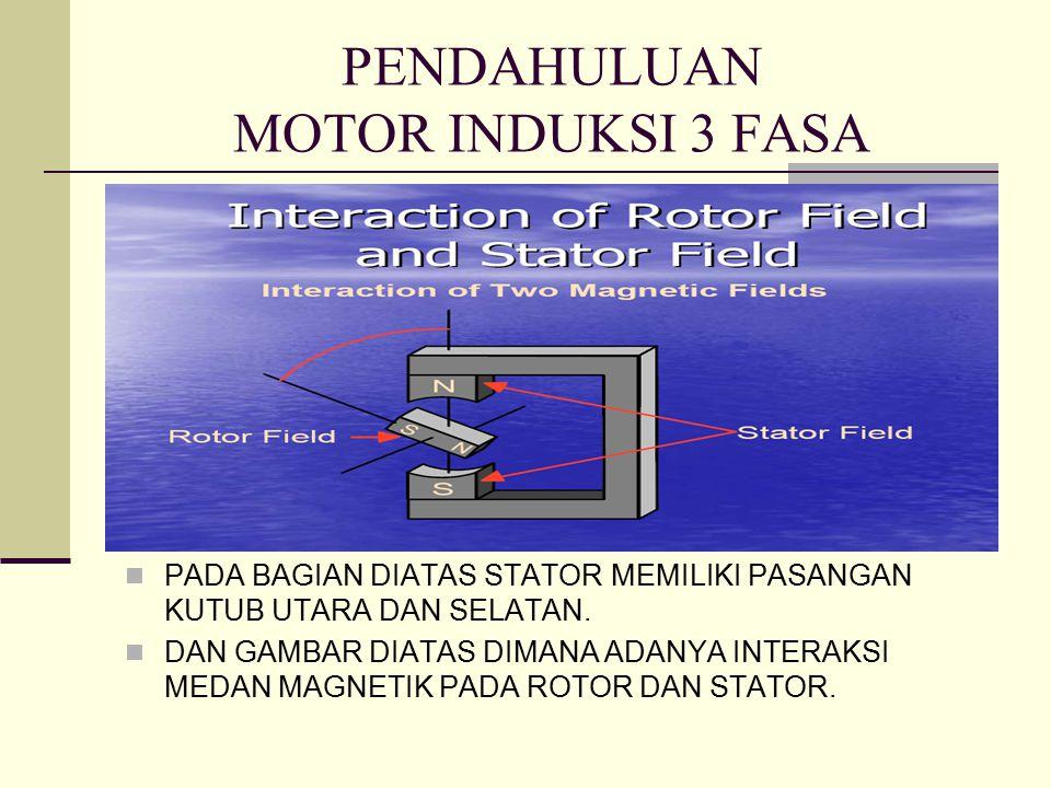 PENDAHULUAN MOTOR INDUKSI 3 FASA PADA BAGIAN DIATAS STATOR MEMILIKI PASANGAN KUTUB UTARA DAN SELATAN.