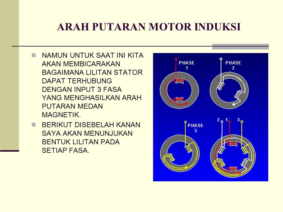 ARAH PUTARAN MOTOR INDUKSI NAMUN UNTUK SAAT INI KITA AKAN MEMBICARAKAN BAGAIMANA LILITAN STATOR DAPAT TERHUBUNG DENGAN INPUT 3 FASA YANG MENGHASILKAN ARAH PUTARAN MEDAN MAGNETIK.