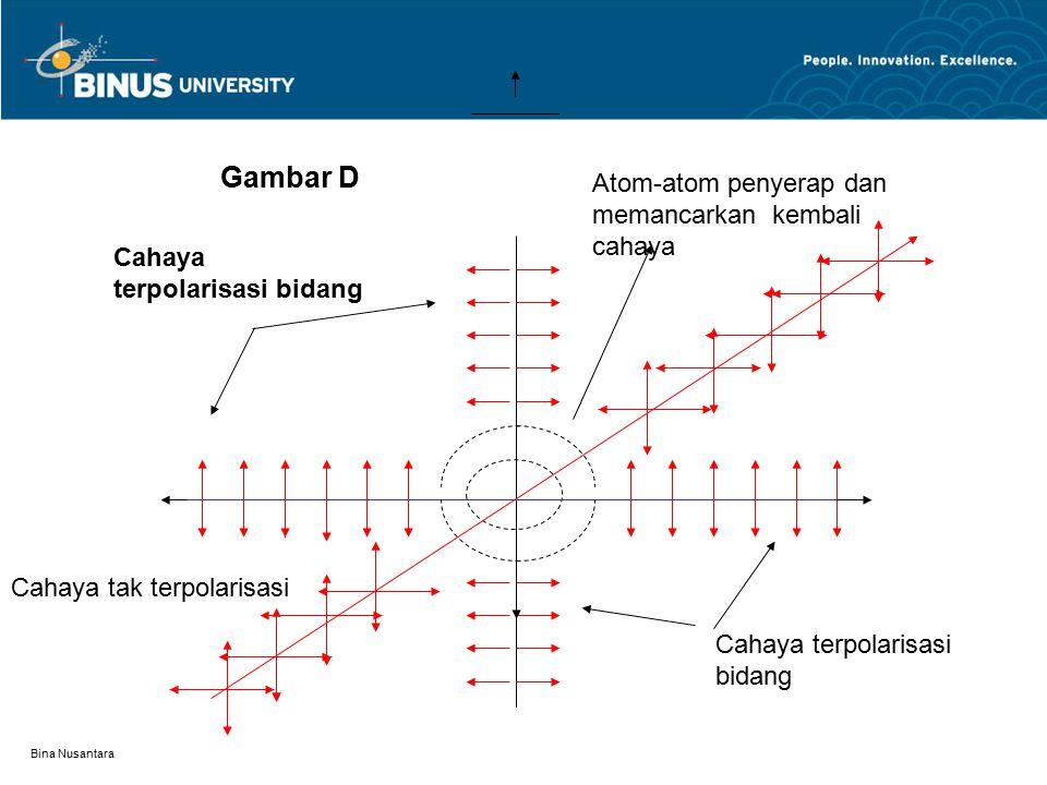 Bina Nusantara Cahaya tak terpolarisasi Cahaya terpolarisasi bidang Atom-atom penyerap dan memancarkan kembali cahaya Gambar D
