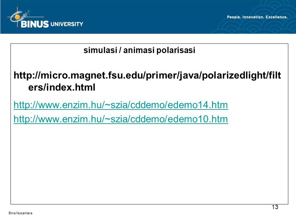 Bina Nusantara simulasi / animasi polarisasi http://micro.magnet.fsu.edu/primer/java/polarizedlight/filt ers/index.html http://www.enzim.hu/~szia/cddemo/edemo14.htm http://www.enzim.hu/~szia/cddemo/edemo10.htm 13