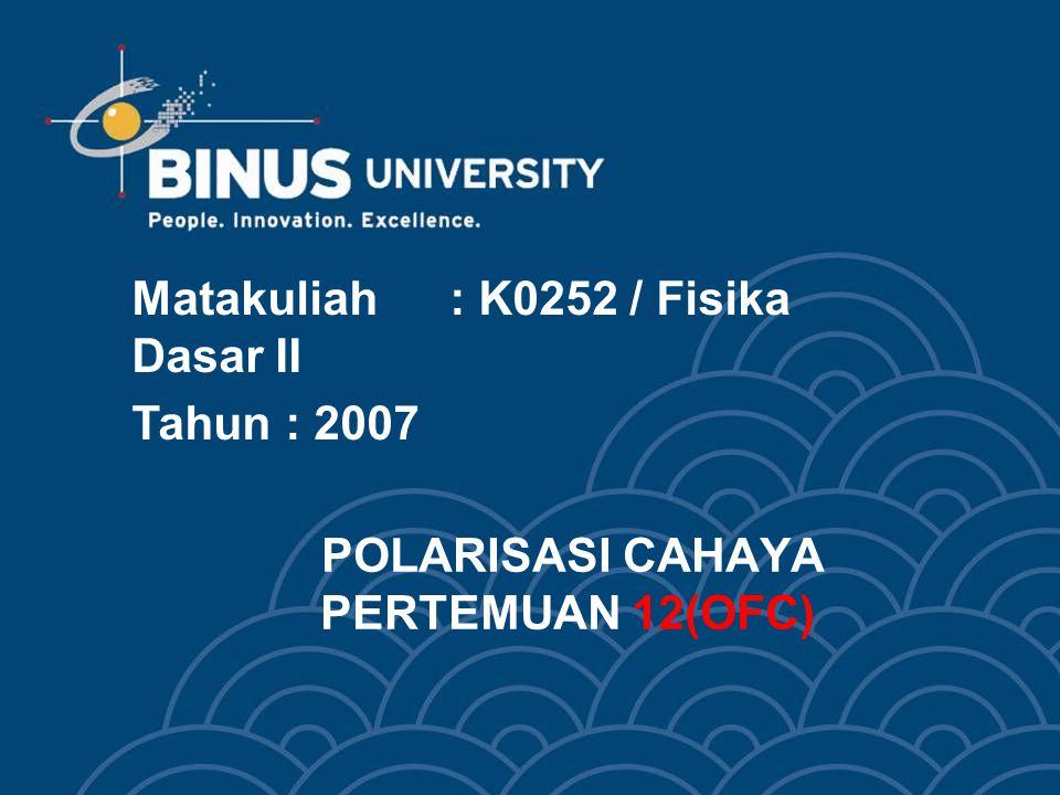 POLARISASI CAHAYA PERTEMUAN 12(OFC) Matakuliah: K0252 / Fisika Dasar II Tahun: 2007