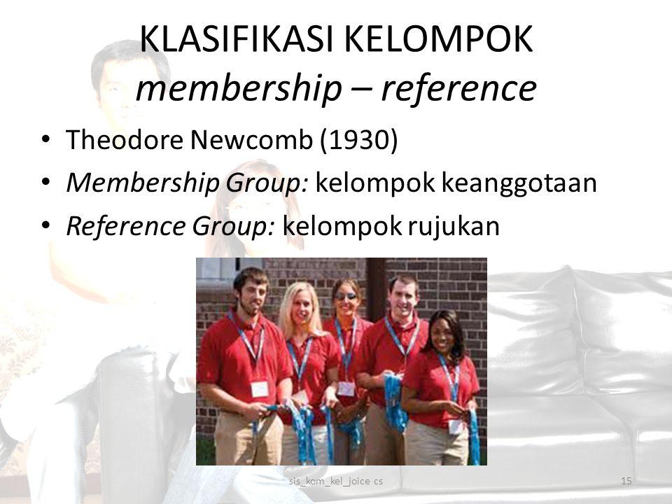 KLASIFIKASI KELOMPOK membership – reference sis_kom_kel_joice cs15 Theodore Newcomb (1930) Membership Group: kelompok keanggotaan Reference Group: kel