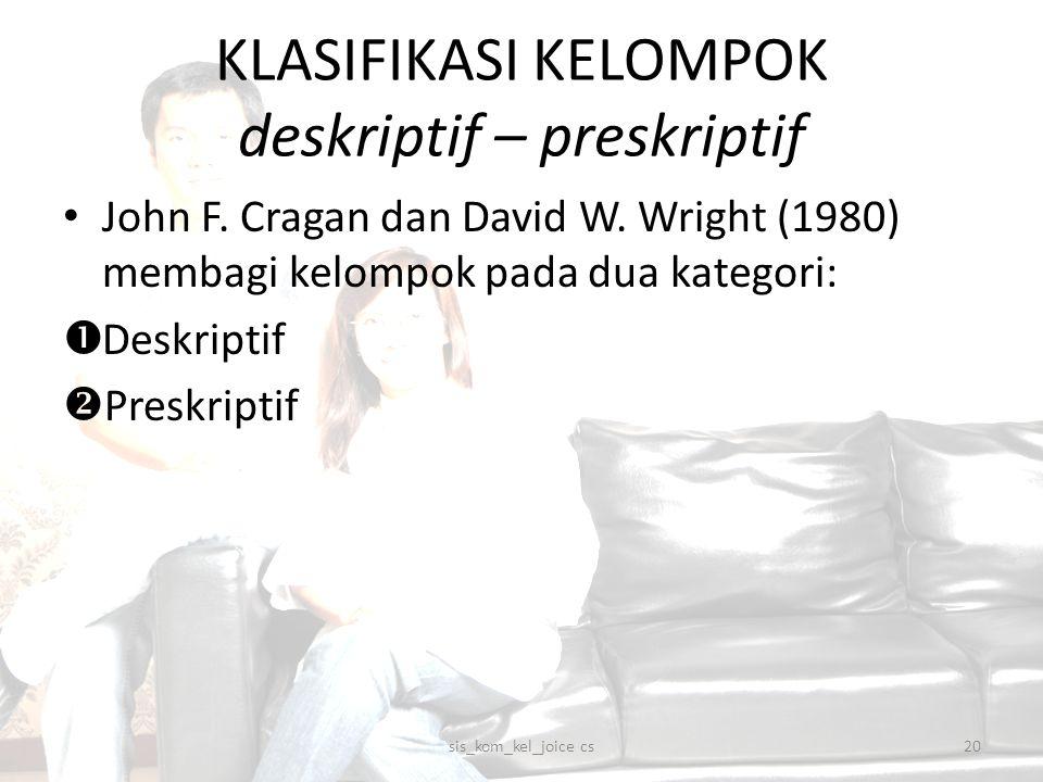 KLASIFIKASI KELOMPOK deskriptif – preskriptif John F. Cragan dan David W. Wright (1980) membagi kelompok pada dua kategori:  Deskriptif  Preskriptif