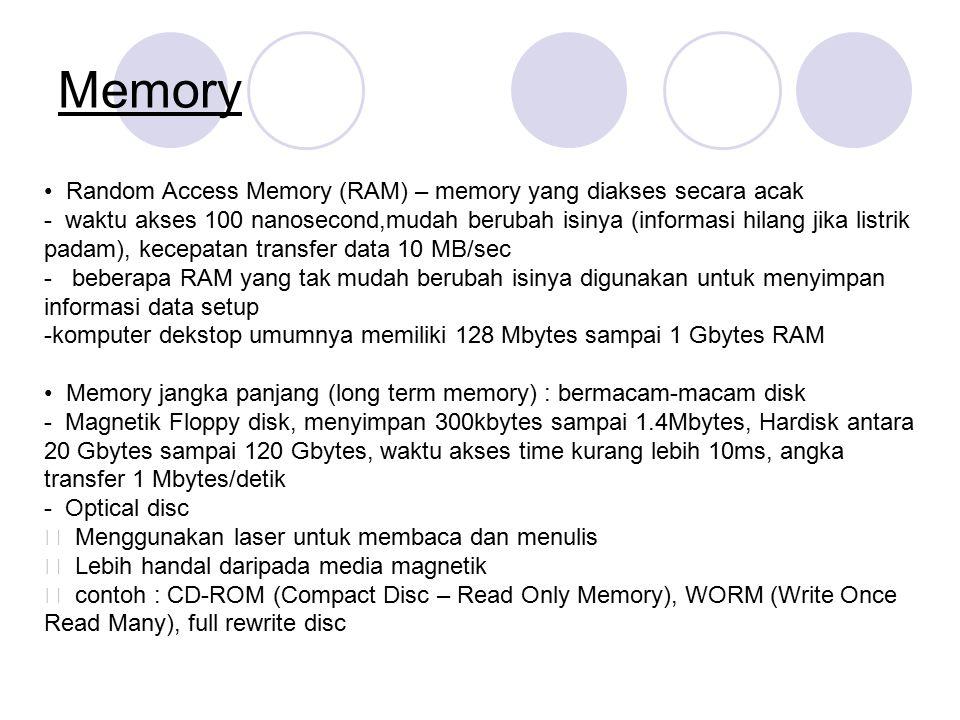 Memory Random Access Memory (RAM) – memory yang diakses secara acak - waktu akses 100 nanosecond,mudah berubah isinya (informasi hilang jika listrik p