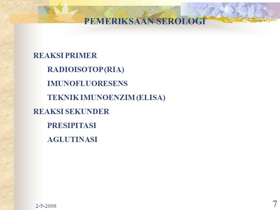 2-5-2006 7 PEMERIKSAAN SEROLOGI REAKSI PRIMER RADIOISOTOP (RIA) IMUNOFLUORESENS TEKNIK IMUNOENZIM (ELISA) REAKSI SEKUNDER PRESIPITASI AGLUTINASI