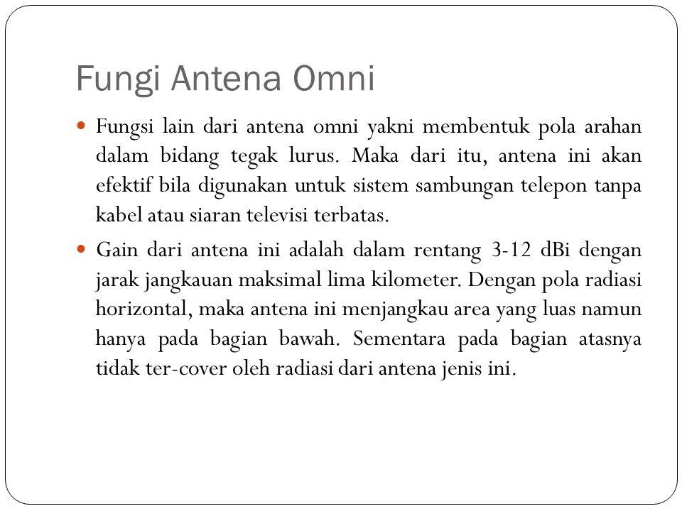 Fungi Antena Omni Fungsi lain dari antena omni yakni membentuk pola arahan dalam bidang tegak lurus. Maka dari itu, antena ini akan efektif bila digun