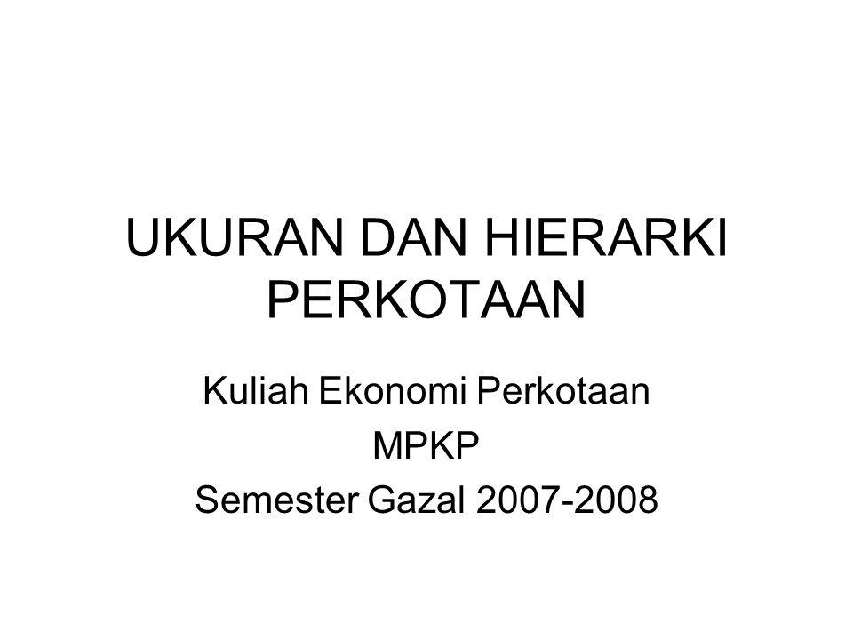 UKURAN DAN HIERARKI PERKOTAAN Kuliah Ekonomi Perkotaan MPKP Semester Gazal 2007-2008