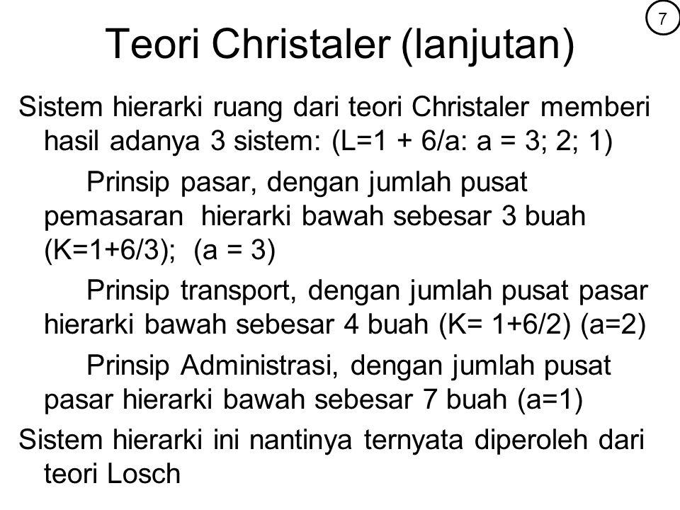 Teori Christaler (lanjutan) Sistem hierarki ruang dari teori Christaler memberi hasil adanya 3 sistem: (L=1 + 6/a: a = 3; 2; 1) Prinsip pasar, dengan