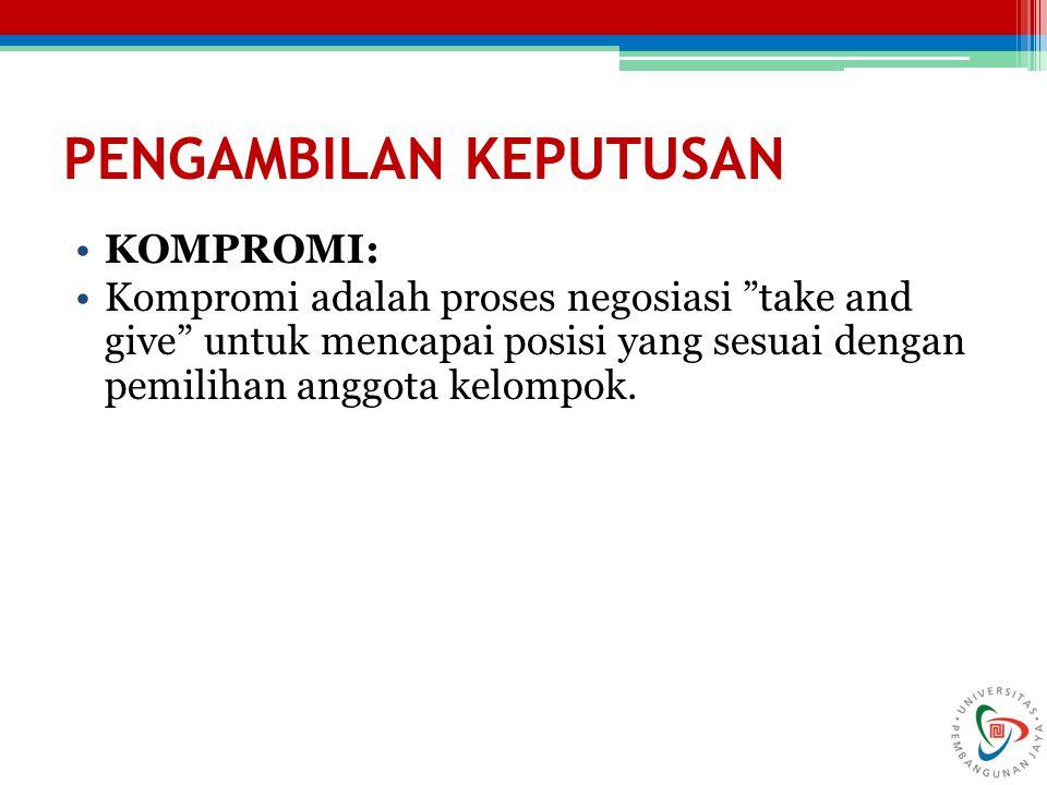 """PENGAMBILAN KEPUTUSAN KOMPROMI: Kompromi adalah proses negosiasi """"take and give"""" untuk mencapai posisi yang sesuai dengan pemilihan anggota kelompok."""