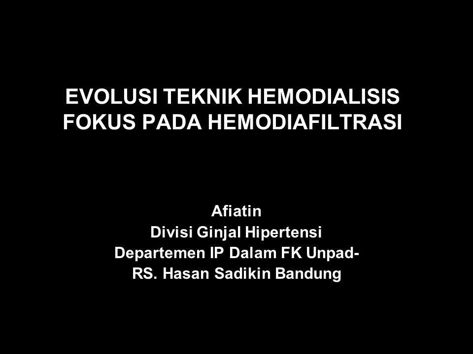 Dialysate out Dialysate in uf Adsorption Convection (through protein leaking membrane) Diffusion Hemodiafiltrasi dengan reinfusi endogen Pembuangan toksin uremik dengan adsorpsi Reinfusi dari molekul fisiologis