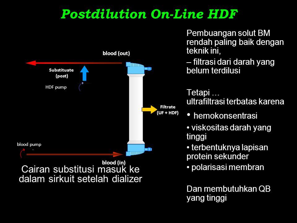 Postdilution On-Line HDF Cairan substitusi masuk ke dalam sirkuit setelah dializer Pembuangan solut BM rendah paling baik dengan teknik ini, – filtras