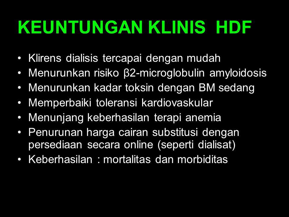 KEUNTUNGAN KLINIS HDF Klirens dialisis tercapai dengan mudah Menurunkan risiko β2-microglobulin amyloidosis Menurunkan kadar toksin dengan BM sedang M