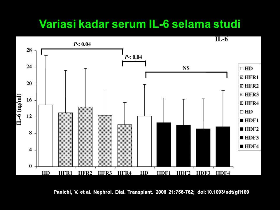 Panichi, V. et al. Nephrol. Dial. Transplant. 2006 21:756-762; doi:10.1093/ndt/gfi189 Variasi kadar serum IL-6 selama studi