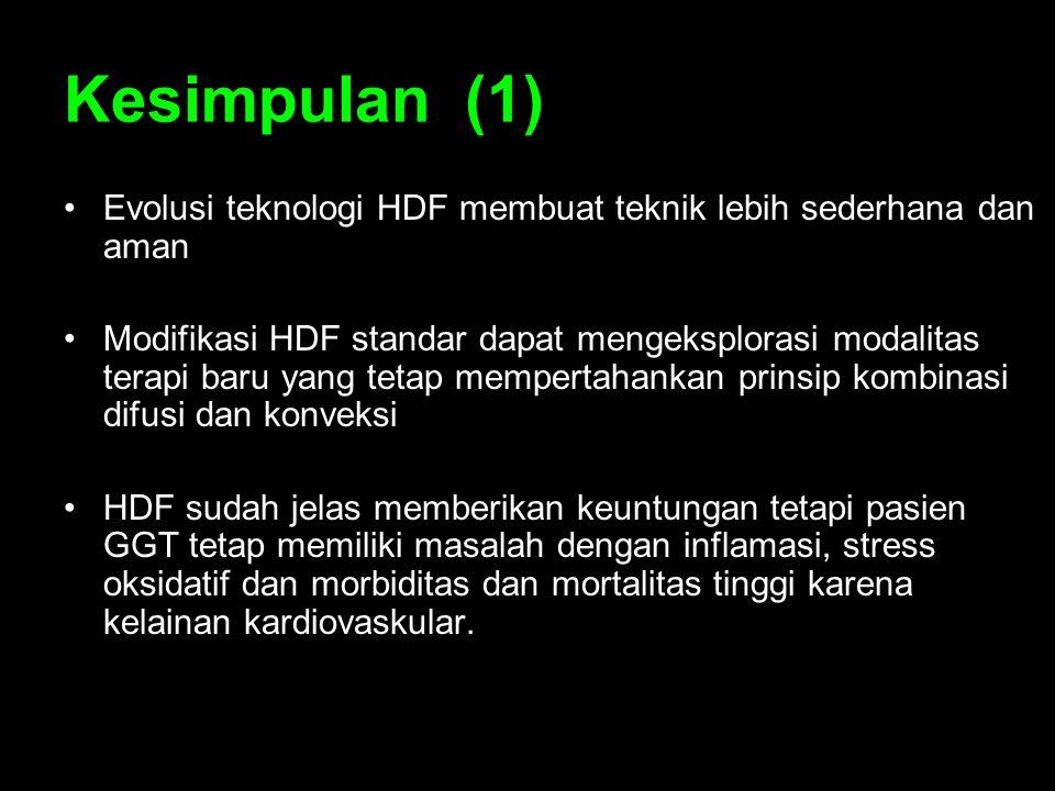 Kesimpulan (1) Evolusi teknologi HDF membuat teknik lebih sederhana dan aman Modifikasi HDF standar dapat mengeksplorasi modalitas terapi baru yang te