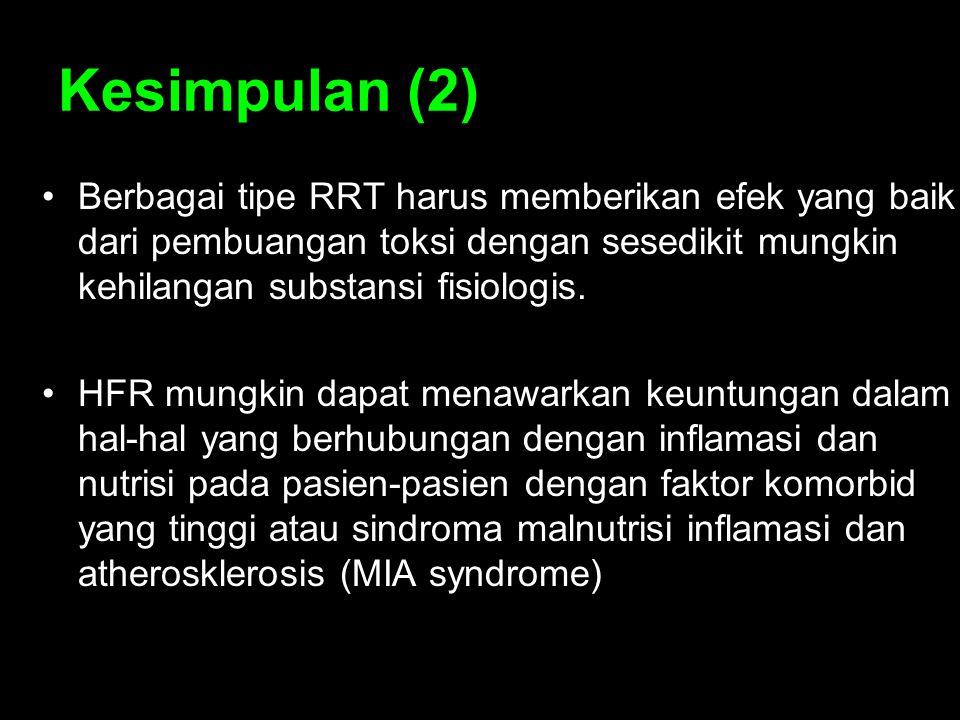 Kesimpulan (2) Berbagai tipe RRT harus memberikan efek yang baik dari pembuangan toksi dengan sesedikit mungkin kehilangan substansi fisiologis. HFR m