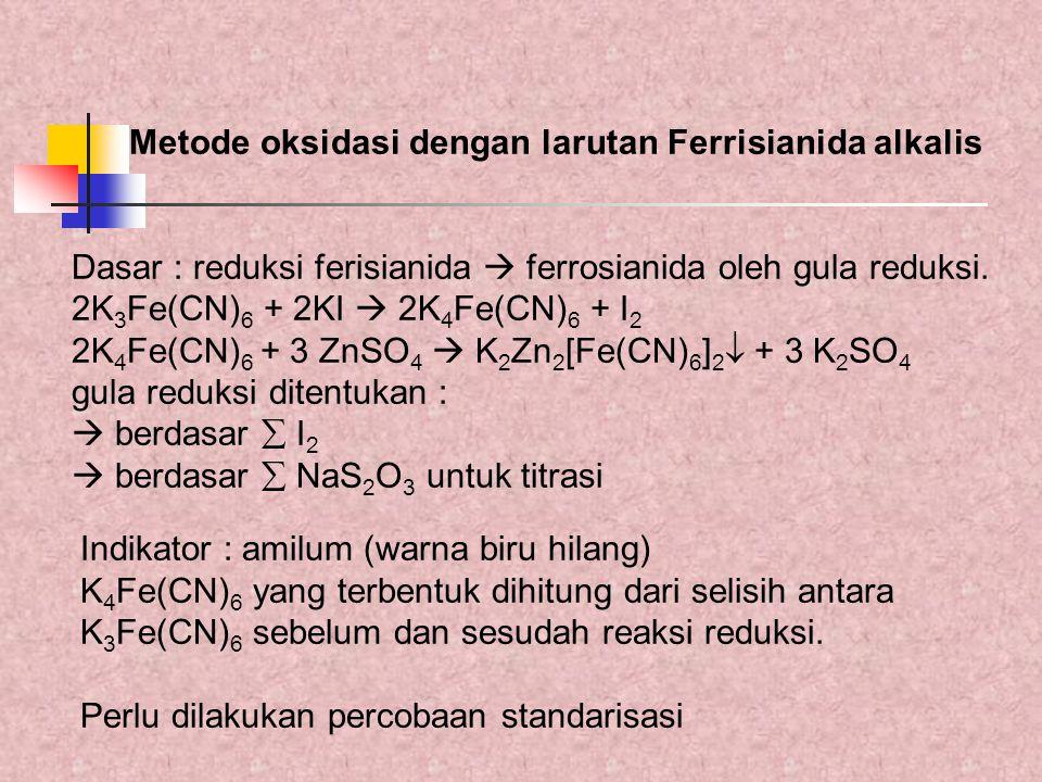 Metode oksidasi dengan larutan Ferrisianida alkalis Dasar : reduksi ferisianida  ferrosianida oleh gula reduksi. 2K 3 Fe(CN) 6 + 2KI  2K 4 Fe(CN) 6