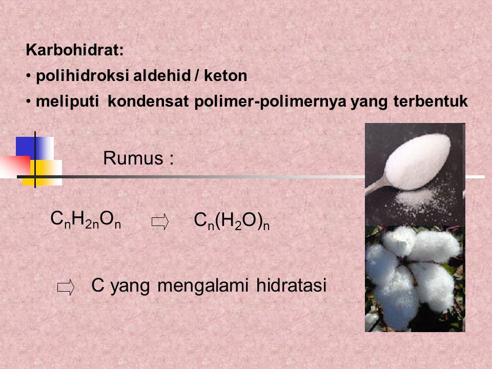 Rumus : C n H 2n O n Karbohidrat: polihidroksi aldehid / keton meliputi kondensat polimer-polimernya yang terbentuk C n (H 2 O) n C yang mengalami hid