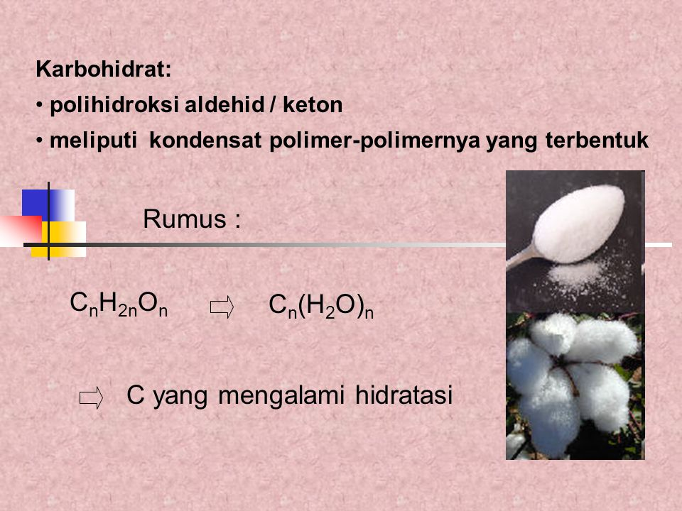 Penentuan pati Prinsip : pati dihidrolisa dengan asam/enzim  gula reduksi  ditera jumlahnya [C 6 H 10 O 25 ] m + mH 2 O  m C 6 H 12 O 6 pati glukosa BM = m.162 BM = 180 m BM pati FK =  m.