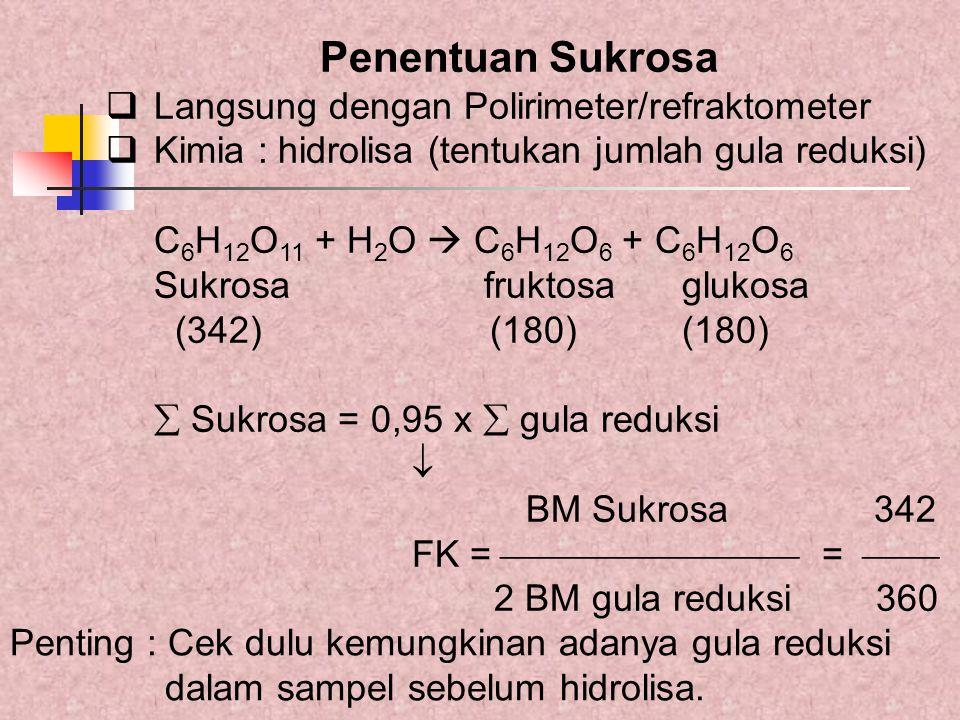 Penentuan Sukrosa  Langsung dengan Polirimeter/refraktometer  Kimia : hidrolisa (tentukan jumlah gula reduksi) C 6 H 12 O 11 + H 2 O  C 6 H 12 O 6