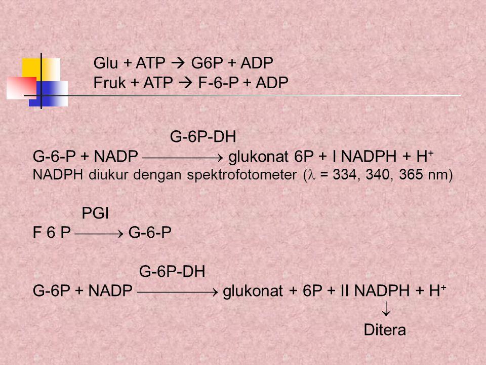G-6P-DH G-6-P + NADP  glukonat 6P + I NADPH + H + NADPH diukur dengan spektrofotometer ( = 334, 340, 365 nm) PGI F 6 P  G-6-P G-6P-DH G-6P + N