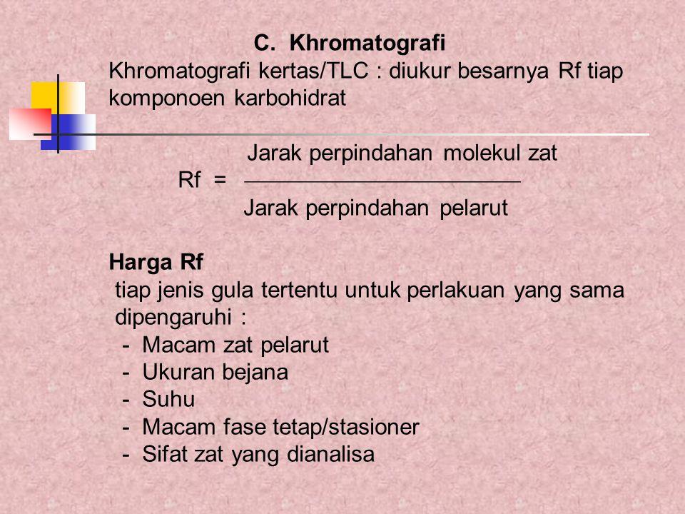 C. Khromatografi Khromatografi kertas/TLC : diukur besarnya Rf tiap komponoen karbohidrat Jarak perpindahan molekul zat Rf =  Jarak perpin