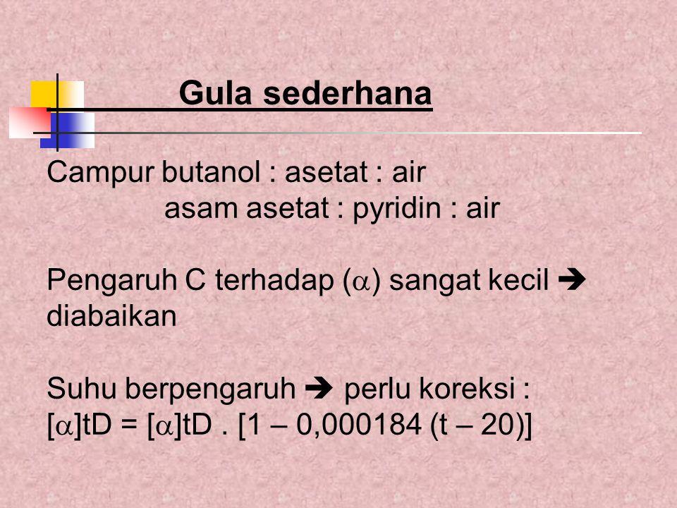 Gula sederhana Campur butanol : asetat : air asam asetat : pyridin : air Pengaruh C terhadap (  ) sangat kecil  diabaikan Suhu berpengaruh  perlu k
