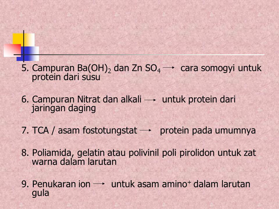 5. Campuran Ba(OH) 2 dan Zn SO 4 cara somogyi untuk protein dari susu 6. Campuran Nitrat dan alkali untuk protein dari jaringan daging 7. TCA / asam f