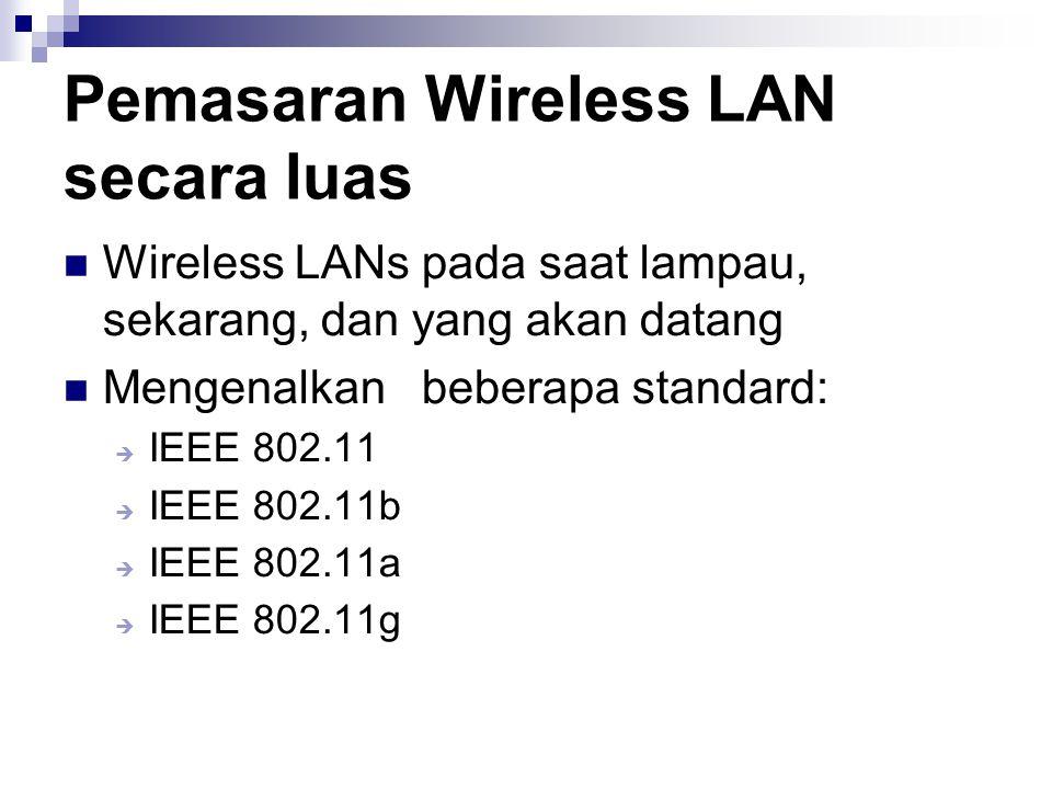 Pemasaran Wireless LAN secara luas Wireless LANs pada saat lampau, sekarang, dan yang akan datang Mengenalkan beberapa standard:  IEEE 802.11  IEEE