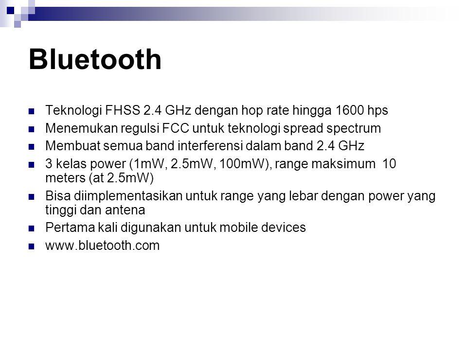 Bluetooth Teknologi FHSS 2.4 GHz dengan hop rate hingga 1600 hps Menemukan regulsi FCC untuk teknologi spread spectrum Membuat semua band interferensi