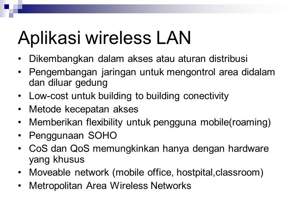 Aplikasi wireless LAN Dikembangkan dalam akses atau aturan distribusi Pengembangan jaringan untuk mengontrol area didalam dan diluar gedung Low-cost u