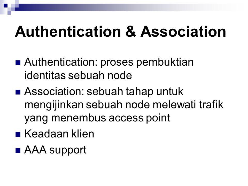 Authentication & Association Authentication: proses pembuktian identitas sebuah node Association: sebuah tahap untuk mengijinkan sebuah node melewati